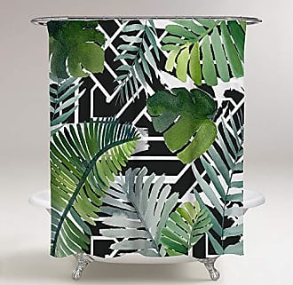 The Oliver Gal Artist Co. The Oliver Gal Artist Co. Oliver Gal Introspect Palm Leaves Black Green Decorative Shower Curtain, 71 x 74