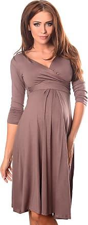 Purpless Maternity Classic Pregnancy Dress Vneck A line 4400 (12, Cappuccino)