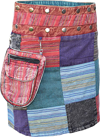 Gheri Cotton Patchwork Reversible Boho Popper Skirt Multicolored A