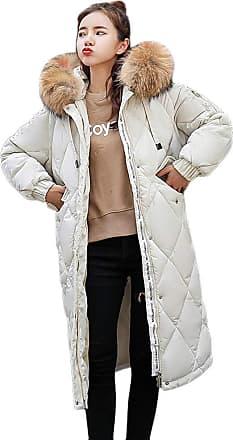 JERFER Women Winter Warm Faux Fur Coat Hooded Thick Warm Long Jacket Overcoat M-3XL Outercoat Beige