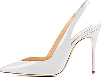 8f507de713a957 EDEFS Damen Slingback Pumps mit Stiletto Elegant Lackleder Spitze High-heel  Damenschuhe Weiß Größe EU45