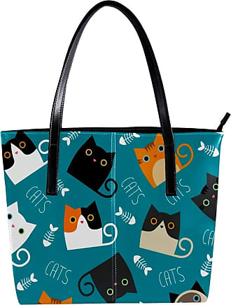 Nananma Womens Bag Shoulder Tote handbag with Cats Depicting Different Breeds and Fur Print Zipper Purse PU Leather Top-handle Zip Bags