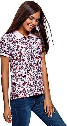 oodji Womens Printed Cotton Polo Shirt, Purple, UK 6 / EU 36 / XS