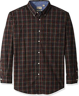 Haggar Mens Long Sleeve Poplin Buttondown Shirt with Stretch, Black, S
