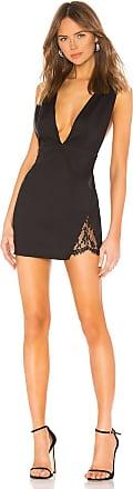 Superdown Cydney Lace Insert Mini Dress in Black