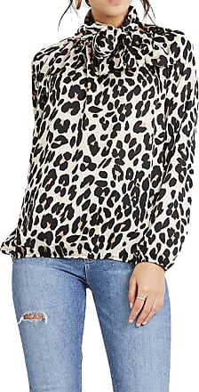 Re Tech UK Womens Ladies Tie Neck Pussy Bow Blouse Shirt Long Sleeve Top Anirmal Snake Leopard Print Cuffed Loose (8-14 UK (One Size), Leopard Print)