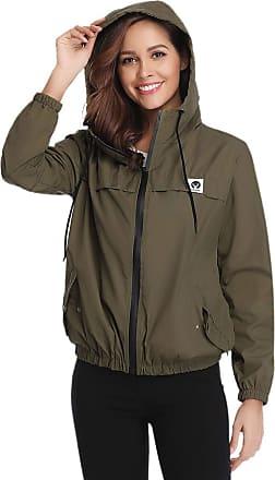 Abollria Raincoats Women Waterproof with Hood Lightweight Active Outdoor Windbreaker Rain Jacket Size M Army Green