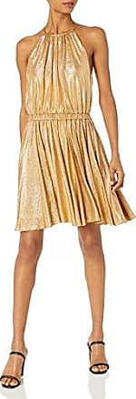 Halston Heritage Womens Elbow Sleeve Round Neck Dress with Flounce Skirt
