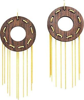 Tinna Jewelry Brinco Dourado Círculo De Madeira Com Corrente