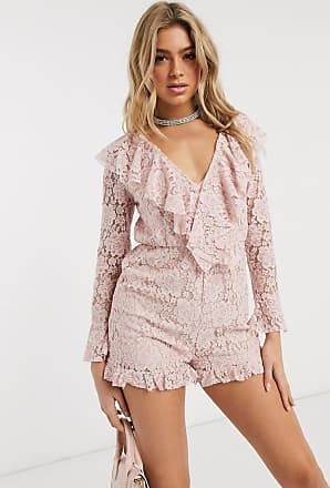Missguided lace ruffle plunge playsuit in cosmetic print-Pink