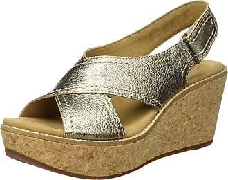 cfa92947cd0d8c Clarks Womens Aisley Tulip Wedge Heels Sandals Gold Metallic 7 UK