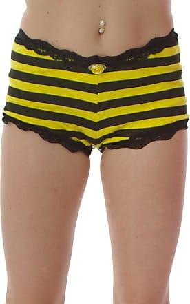 Insanity Black & Yellow Shorts/Hot Pants Trimmed with Lace - Size 8 to16 (L/XL, Black & Yellow)