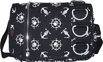 GFM Canvas Messenger Bag; Skull And Anchor Pattern. DBG2510
