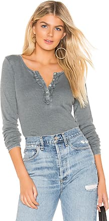 Chaser Ruffle Shirttail Long Sleeve Henley Top in Gray