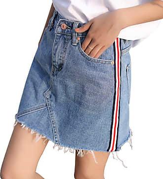 junkai Womens Denim Skirt, Sexy Denim A Line Mini Skirt High Waisted Slim Fit Spring Casual Pencil Skirts with Pockets