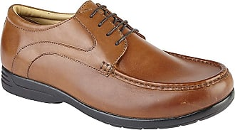 Roamers Roamer Mens Leather Extra Wide Fit Casual Lace Up Shoes - Tan, Mens UK 12 / EU 46