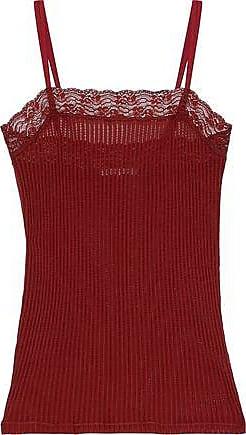 Helmut Lang Helmut Lang Woman Lace-trimmed Ribbed Cotton Camisole Brick Size XS
