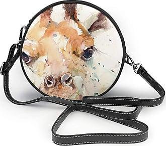 Turfed PU Round Shoulder Bag Lovely Cute Baby Giraffe Handbag