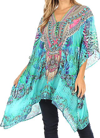 Sakkas 1825 - Aymee Womens Caftan Poncho Cover up V Neck Top Lace up with Rhinestone - ETU227-Turq - OS