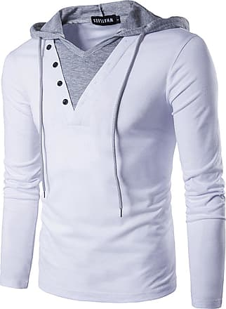 Whatlees Mens Solid Long Sleeve Slim Fit Hoodie T Shirts V Neck Top Tees with Drawstring White 02020005XWhite+S