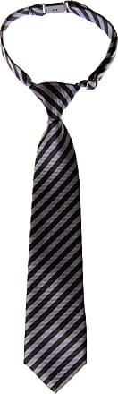 Retreez Striped Woven Pre-tied Boys Tie - Grey and Black Stripe - 24 months - 4 years