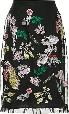 Markus Lupfer embroidered tulle layer skirt - Black