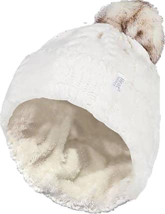 Heat Holders 1 Ladies GENUINE Heat Holder Heatweaver Cable Knit Thermal Winter Warm HAT TOG 3.4 Variations - Pom Pom/Turn Over Cuff/Standard Beanie (Ladies Cream P
