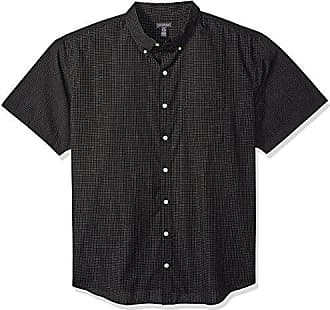 Van Heusen Mens Size Big and Tall Wrinkle Free Short Sleeve Button Down Check Shirt, Black, 3X-Large