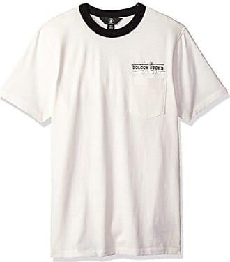Volcom Mens Point Place Short Sleeve Knit Crew Shirt, White Flash, XS