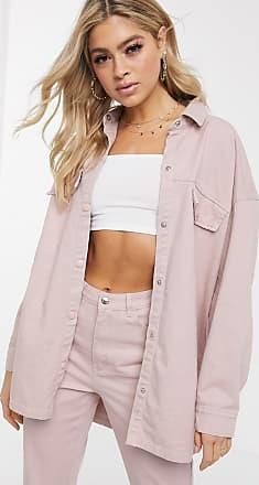 Missguided Oversize-Hemdjacke aus rosa Denim, Kombiteil