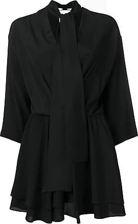 8pm tie neck short dress - Black