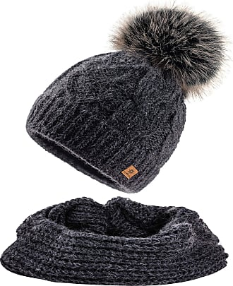 morefaz Set Scarf & Hat Women Mohair Wool Winter Beanie Hat Worm Knitted Neck Hats Fleece Pom Pom (Dark Grey Set Hat&Scarf)