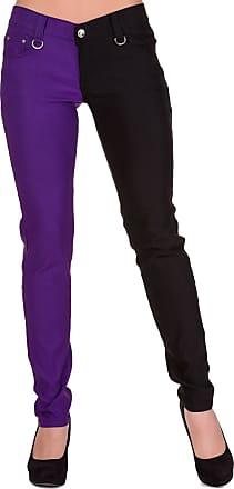 Banned Apparel Womens Split Leg Emo Punk Skinny Pants Trousers - Purple (XS)