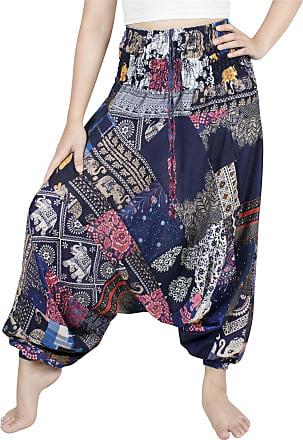 Lofbaz Womens Smocked Waist Floral Pattern 2 in 1 Patch Harem Pants Jumpsuit - Blue - OS