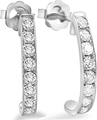 Pompeii3 40CT Natural Diamond Hoops Earrings 14K White Gold J Shape Womens 1 Inch Size
