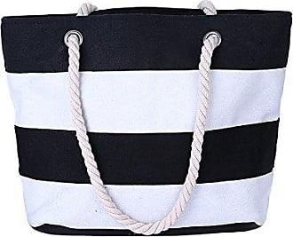 7712b5d94eb1c Minetom Damen Streifen Beach Bag Shopper Badetasche Strandtasche Schwarz  Weiß