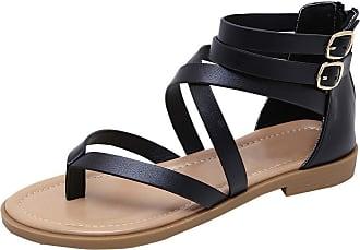 Zhuhaixmy Meijunter Womens Clip Toe Flip Flops Gladiator Flats Cross Strap Summer Beach Sandals with Back Zipper Design Black