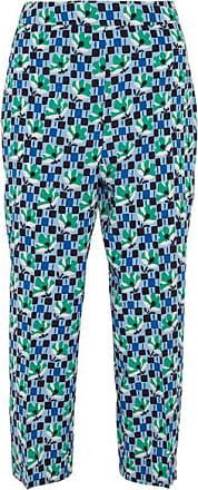 35a17db9a Prada Cropped Printed Silk Crepe De Chine Straight-leg Pants - Blue