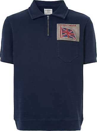 Kent & Curwen embroidered flag polo shirt - Blue