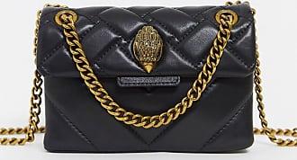 Kurt Geiger Kensington -Kleine Umhängetasche aus schwarzem Leder mit goldenem Beschlag