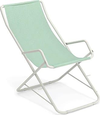Emu Bahama Liegestuhl - citronella/weiß/Sitzfläche EMU-Tex citronella/BxHxT 58x95x108cm/Gestell Stahl weiß