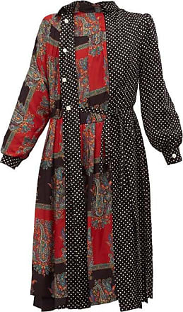 Junya Watanabe Polka-dot And Paisley-print Satin Dress - Womens - Black Multi