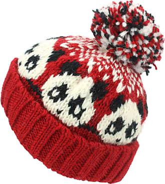 Loud Elephant Wool Knit Bobble Beanie Hat - Panda - Red White