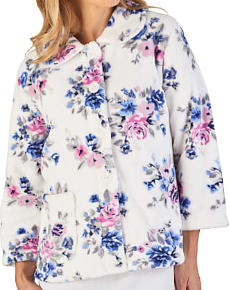 Slenderella Ladies Floral Bed Jacket Soft Coral Fleece Button Up Housecoat Small (Blue)
