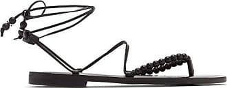 ÁLVARO GONZÁLEZ Akaiah Beaded Wraparound Leather Sandals - Womens - Black