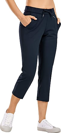 CRZ YOGA Womens On The Travel Mid Rise Capri Joggers Stretch Casual Pants Crop with Pockets True Navy 14
