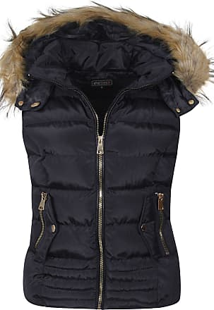 Shelikes Womens Ladies Fur Hood Body Warmer Quilted Padded Navy Black Wine Gilet Size (Navy(G137), Small)