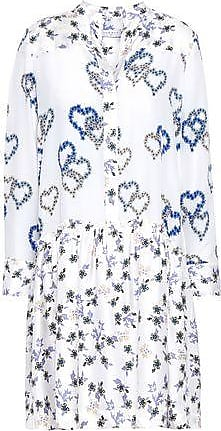 Sandro Sandro Woman Lemon Floral-print Silk Crepe De Chine And Satin-twill Mini Dress White Size 40