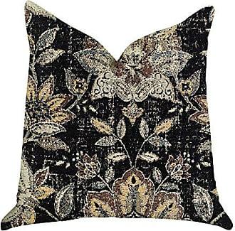 Plutus Brands Noir Lotus Blossom Double Sided King Luxury Throw Pillow 20 x 36 Black/Brown/Orange