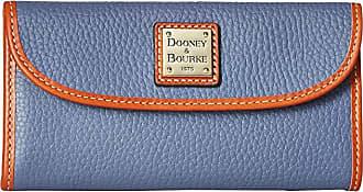 Dooney & Bourke Pebble Leather New SLGS Continental Clutch (Steel Blue/Tan Trim) Clutch Handbags